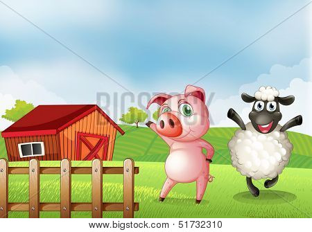 Illustration of a farm with a pig and a sheep