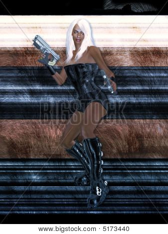 Female Sci Fi Warrior With A Gun