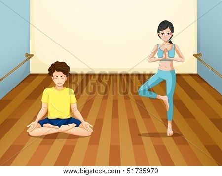 Illustration of a girl and a boy exercising
