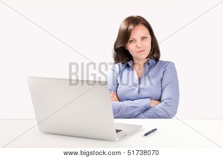 Businesswoman Is Sitting In Front Of A Laptop