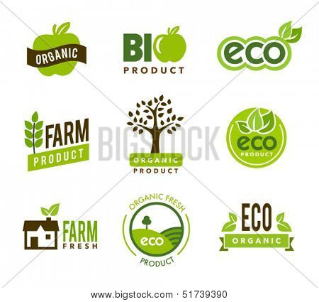 Collection of green organic icons