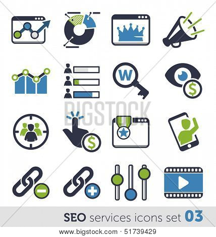 SEO services icons set 03