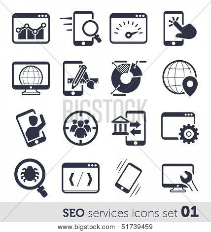 SEO services icons set 01 MONO