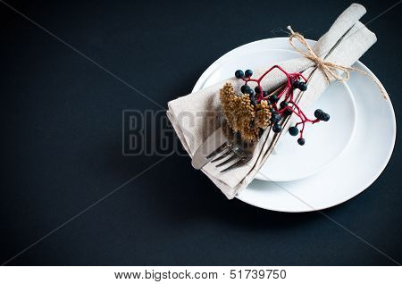 Table Setting With Wild Grapes