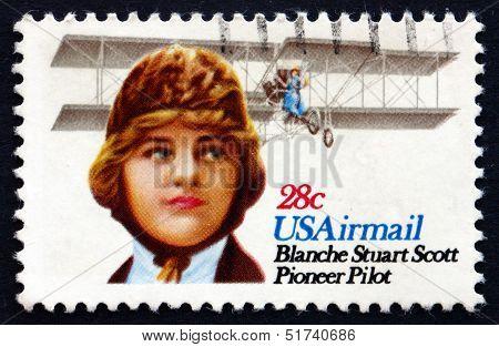 Postage Stamp Usa 1980 Blanche Stuart Scott, Pilot