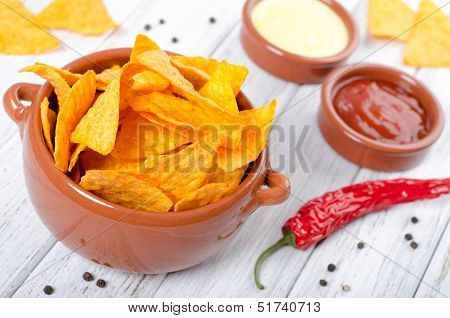 Tortilla Chips With Two Different Dips