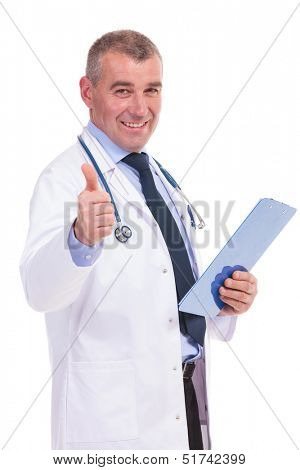 old doctor giving you the good news by making the ok thumbs up gesture on white background