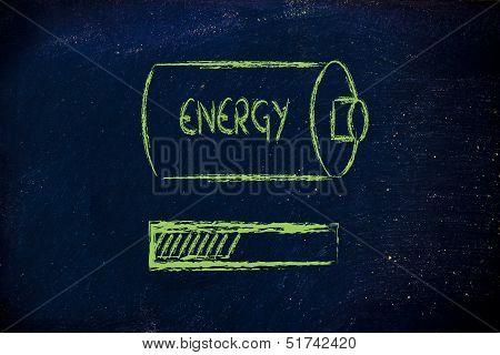 Battery With Energy Progress Bar Loading