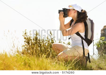 Woman Photographer In The Country