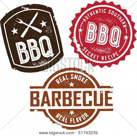 Vintage Style Barbecue BBQ Stamps