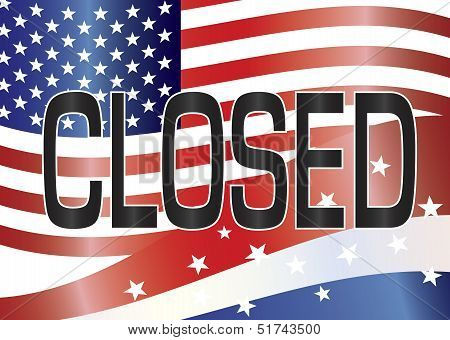 Us Government Shutdown Closed Sign Illustration