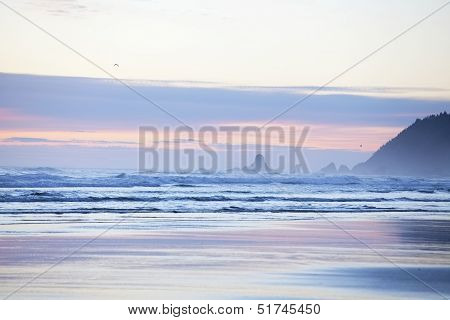 Colorful Pastel Hues In Sky Over Cannon Beach, Oregon