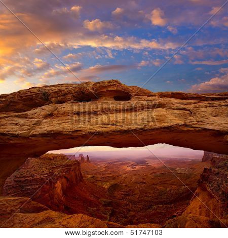 Mesa Arch in Canyonlands National Park Utah USA sunrise photo mount