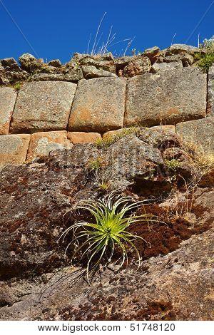 Stone wall at Pisac ruins, Cuzco, Peru