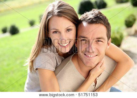 Sweet couple enjoying week-end in countryside