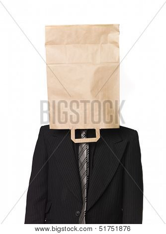 Man with a paper-bag over his head