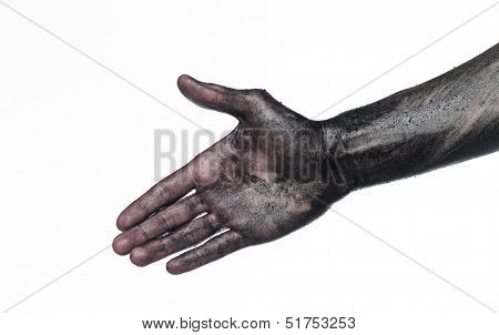 Very dirty hand towards white background