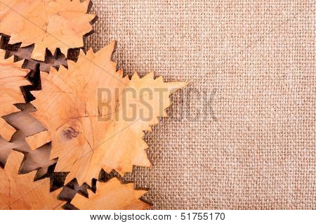 Autumn Background Made By Burlap And Carved Leaves