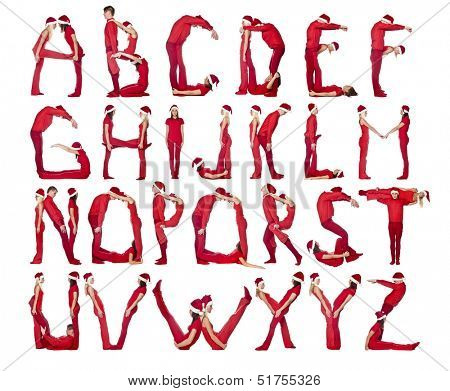 Group of red dressed people forming the alphabet.