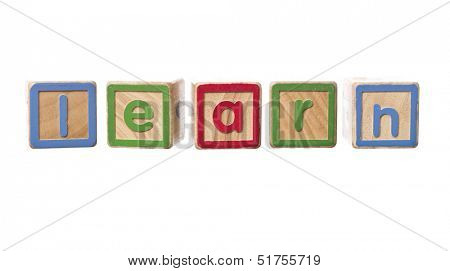 The word learn built by Play Blocks isolated on white background