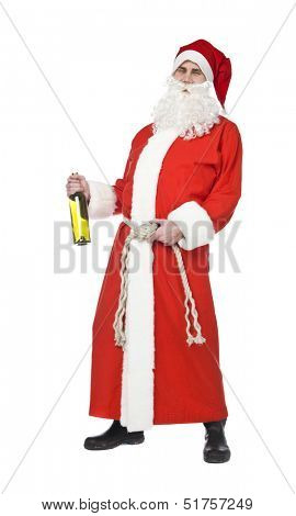 Santa claus drinking wine isolated on a white background