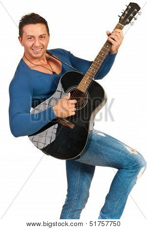 Modern Guy Playing Guitar