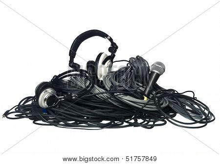 Cables and music equipment isolated on white background
