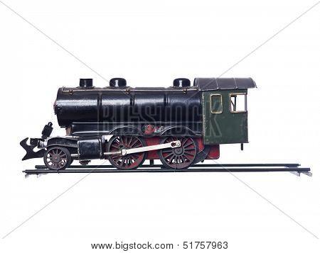 Vintage Train Set isolated on white Background