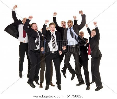 Group of happy businessmen jumping