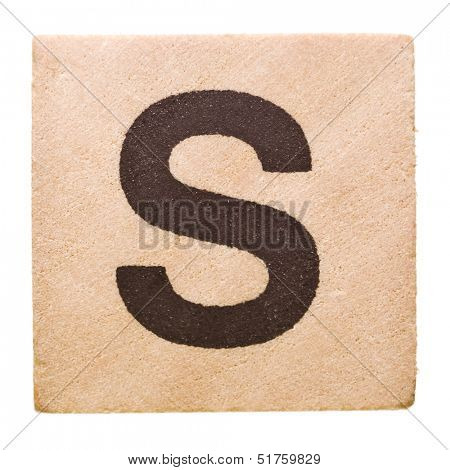 Block with Letter S isolated on white background