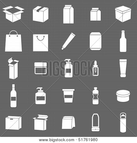 Packaging Icons On Gray Background
