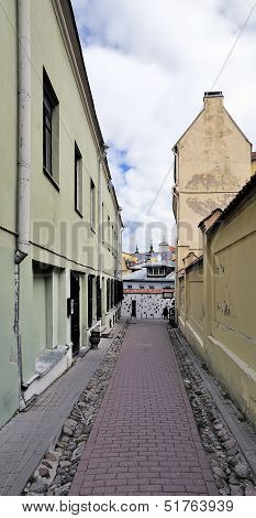 Narrow Small Street Of The Old City In Vilnius