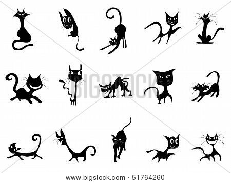 Cartoon Black Cat Silhouettes