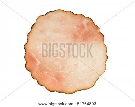 Slice of ham isolated on white background