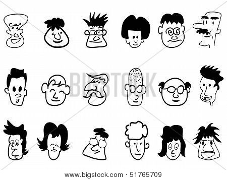 Doodle Crowd Face Icons