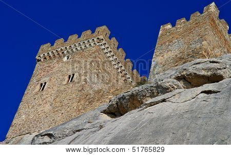 Ruins Of An Ancient Genoa Fortress On A Mountain In Sudak, Crimea, Ukraine. Situated On Rocky Mounta