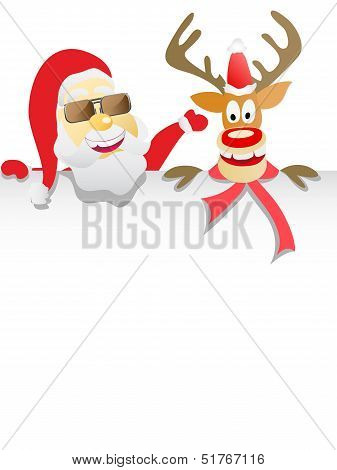 Santa Clause And Reindeer Holding Blank Sign
