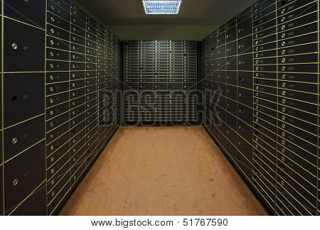 Room with a large group of safety boxes