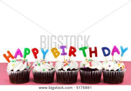 poster of Happy Birthday Cupcakes With Candles And White Background