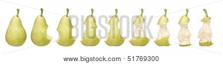 Time Lapse of a pear isolated on white background