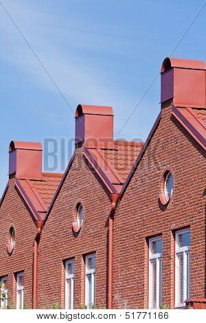 Brick Wall building towards blue sky