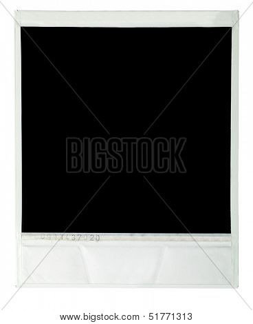 Instant film image on white background