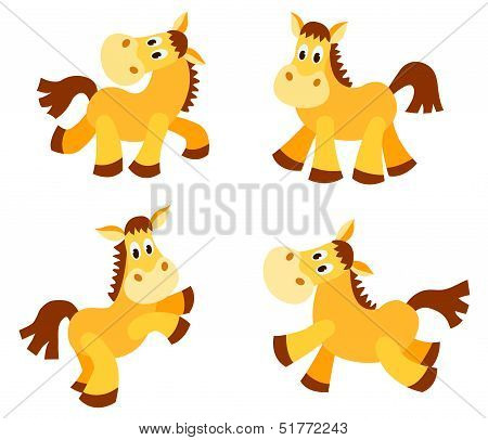Set of happy horses.