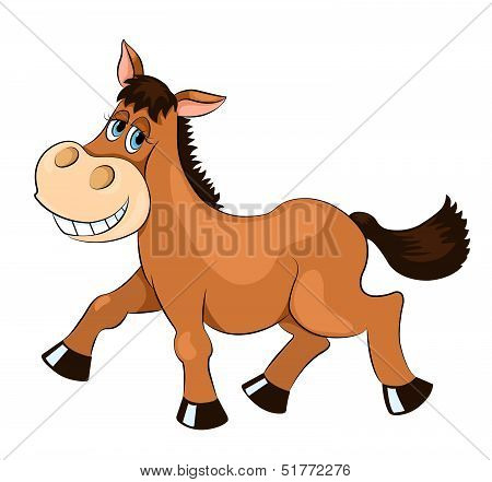 Brown mad horse