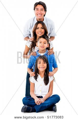 Happy family in a row smiling - isolated over white background