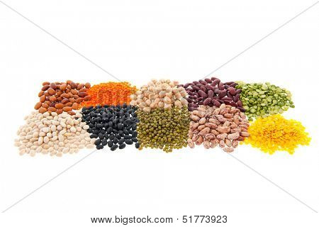 Assortment legumes isolated over white background