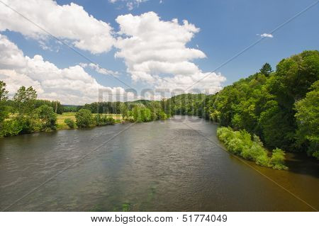 Landscape in France with river the Dordogne