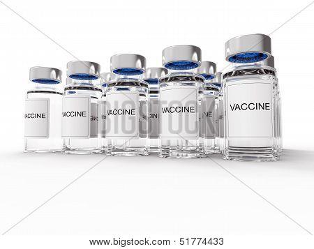 Vaccine  Bottles On White Background