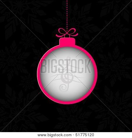 Christmas ball on black banner