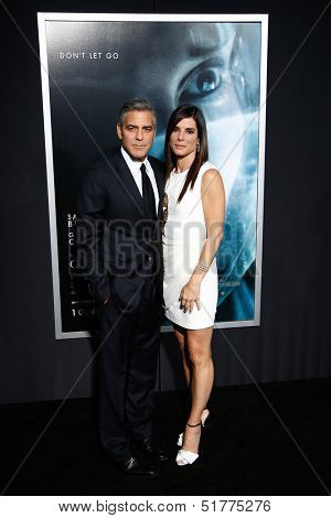 NEW YORK-OCT 1: Actors Sandra Bullock and George Clooney attend the 'Gravity' premiere at AMC Lincoln Square Theater on October 1, 2013 in New York City.
